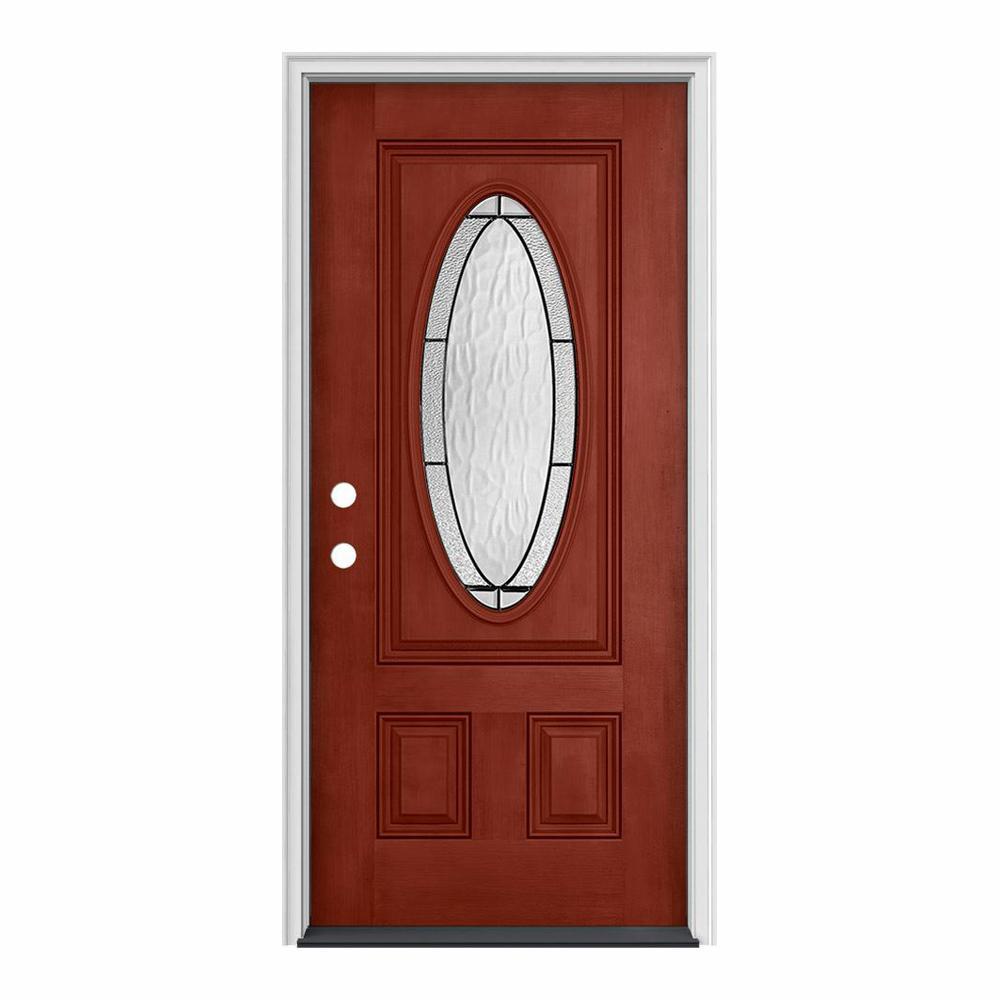 JELD-WEN 32 in. x 80 in. 3/4 Oval Lite Wendover Black Cherry Stained Fiberglass Prehung Right-Hand Inswing Front Door
