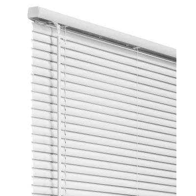 White Cordless Room Darkening Vinyl Mini Blind with 1 in. Slats 34 in. W x 84 in. L
