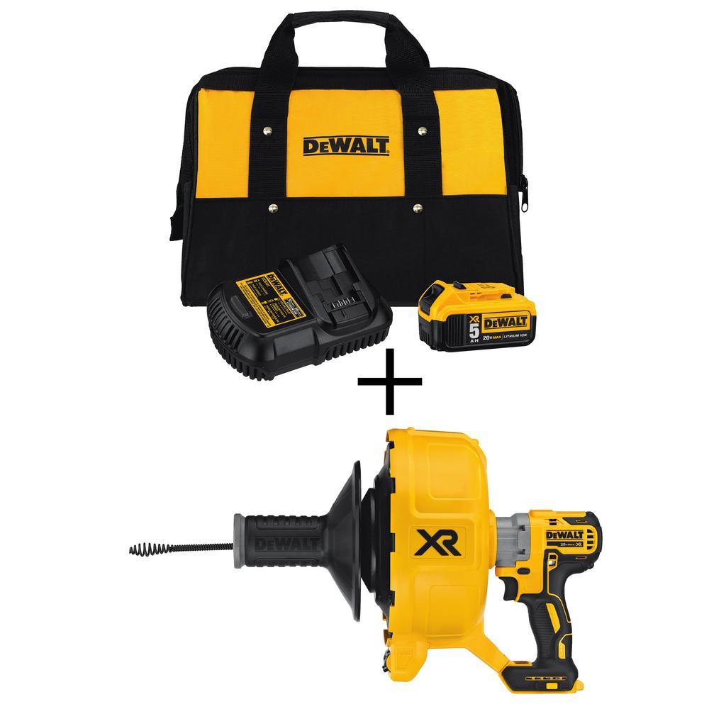 DEWALT 20-Volt MAX Cordless Brushless Drain Snake with Bonus 20-Volt 5.0Ah Battery Pack and Charger