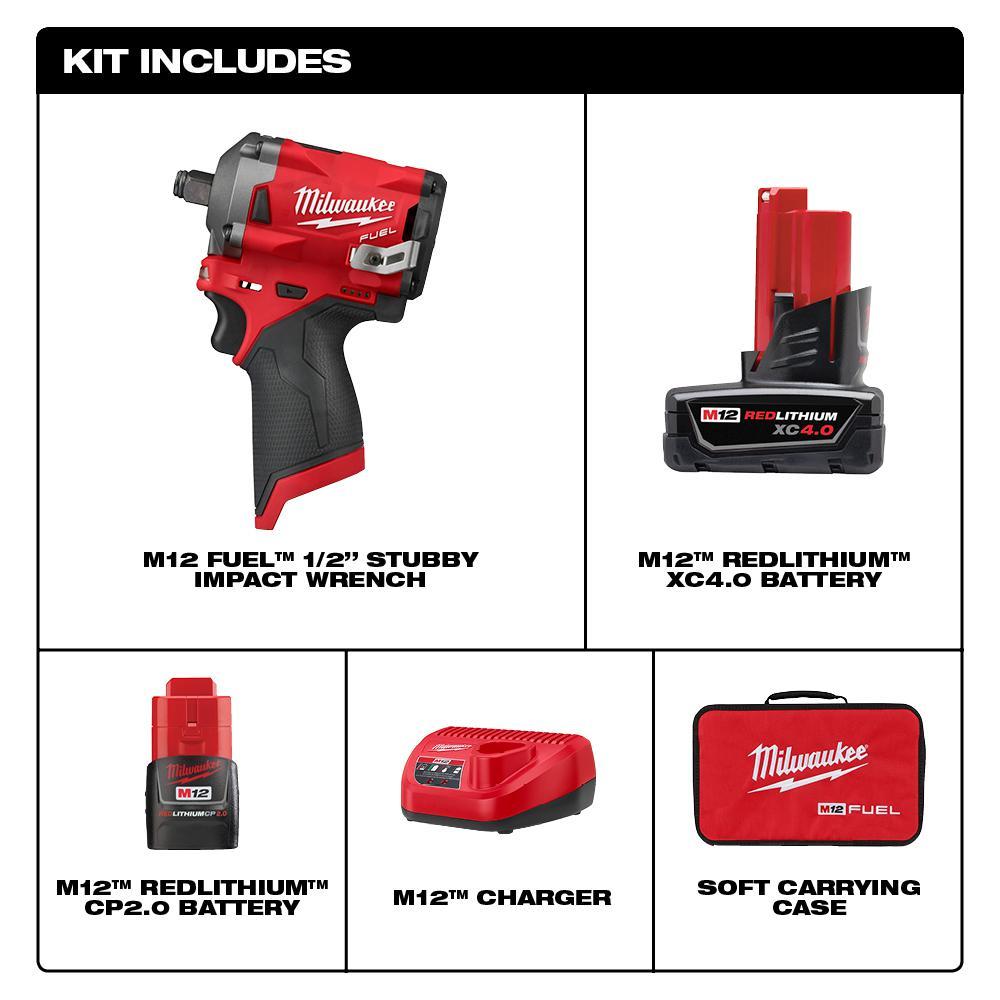 """Milwaukee 2555-22 M12 FUEL Stubby Cordless 1//2/"""" Drive Impact Gun Wrench Kit"""