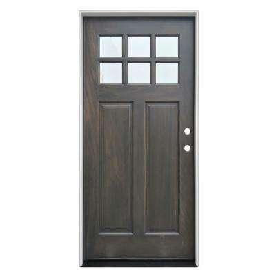 36 in. x 80 in. Ash Left-Hand Inswing 6-Lite Clear  Mahogany Stained Wood Prehung Entry Door with Composite Jamb