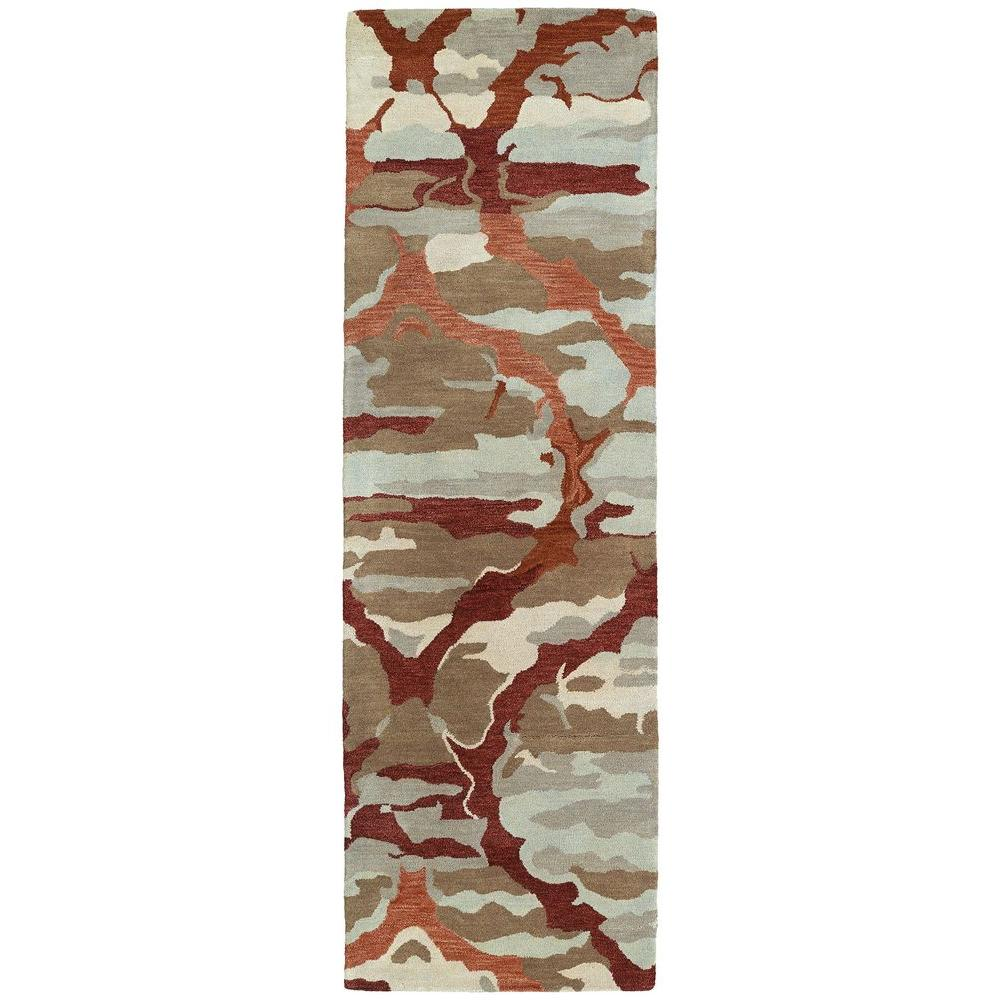 Brushstrokes Red 2 ft. 6 in. x 8 ft. Runner