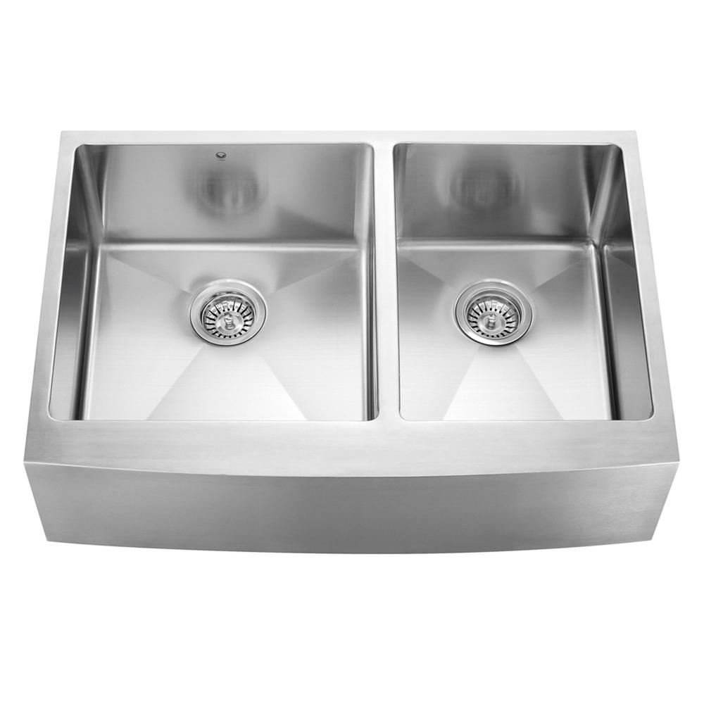 Captivating VIGO Farmhouse Apron Front Stainless Steel 33 In. Double Bowl Kitchen Sink VGR3320BL    The Home Depot