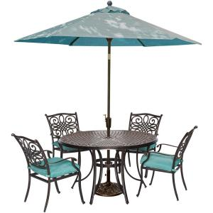 Cambridge Seasons 5-Piece All-Weather Round Patio Dining Set with Blue Cushions, Umbrella... by Cambridge