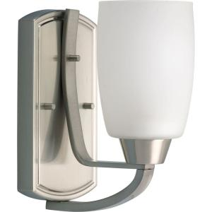 Progress Lighting Wisten Collection 1-Light Brushed Nickel Wall Sconce with Etched Glass by Progress Lighting