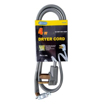 4 ft. 3-Wire Clothes Dryer Replacement Power Cord Gray
