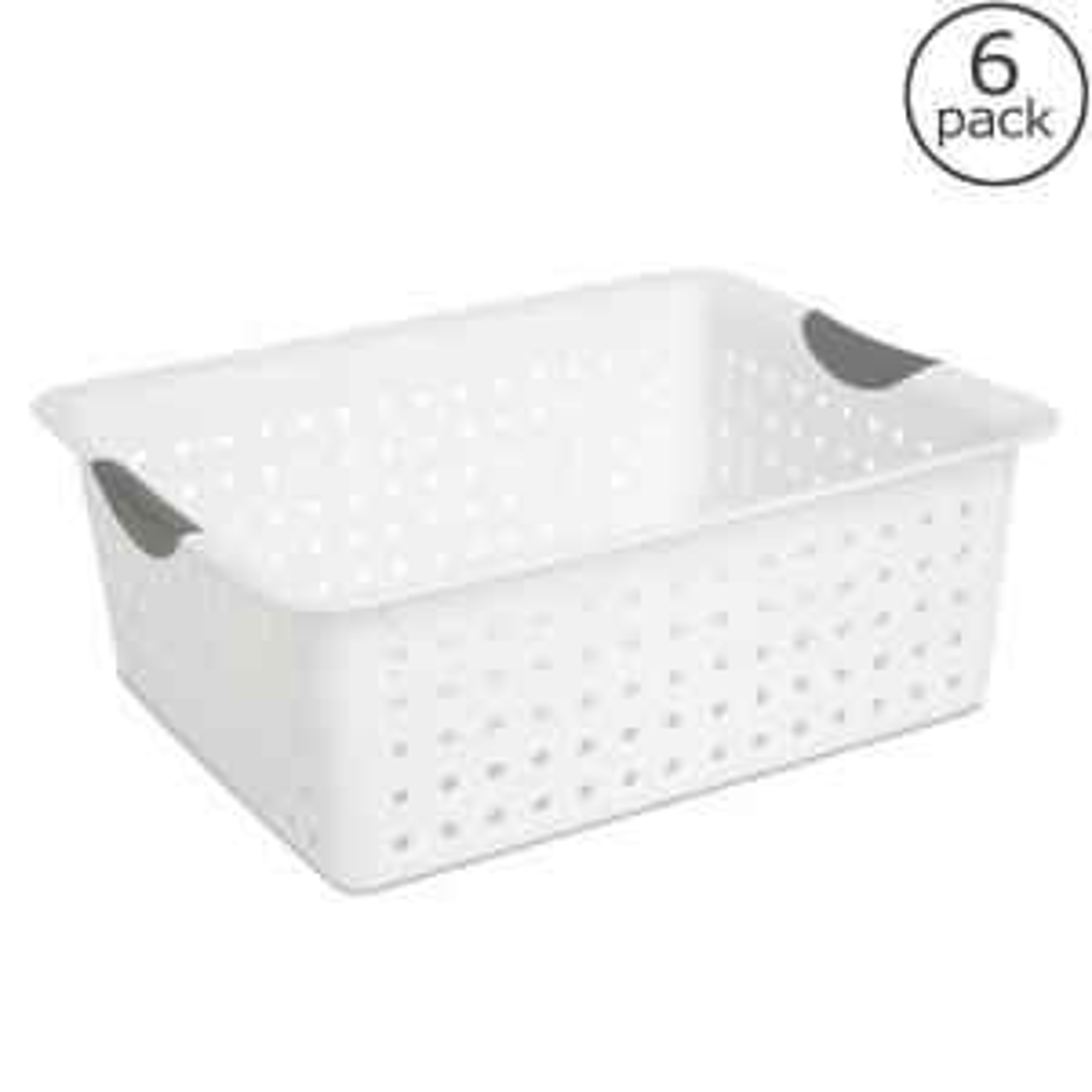 Beautiful Medium Ultra Storage Plastic Basket (Case Of 6)