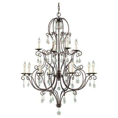 Chateau 36 in. W. 12-Light Mocha Bronze Multi Tier Chandelier