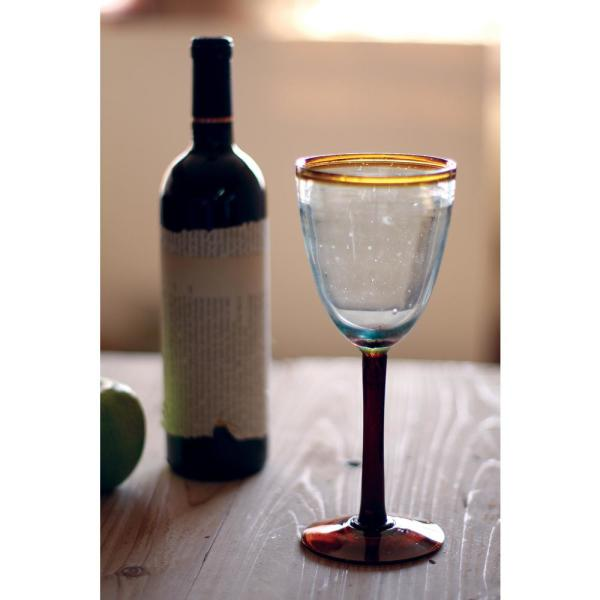 18 oz. Clear Hand Blown Recycled Glass Water Goblet (Set of