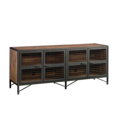 Boulevard Cafe 70 in. Vintage Oak Particle Board TV Stand Fits TVs Up to 70 in. with Storage Doors