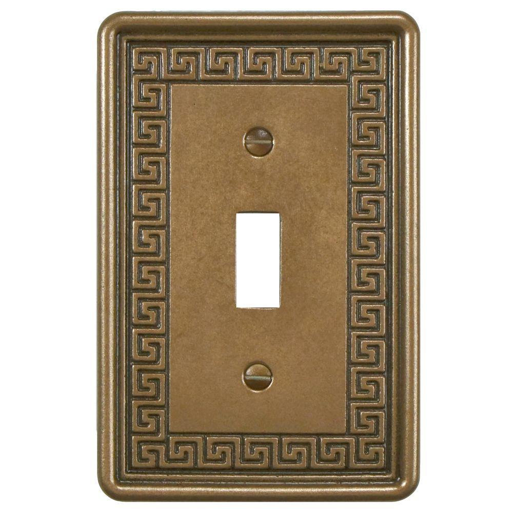 Merola Tile Contempo Greek Key 1 Toggle Wall Plate - Bronze