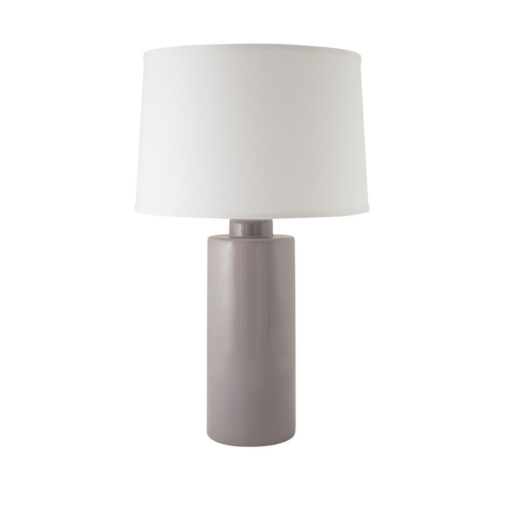 Cylinder 28 in. Gloss Swanky Grey Indoor Table Lamp