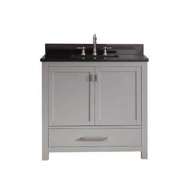 Modero 37 in. W x 22 in. D x 35 in. H Vanity in Chilled Gray with Granite Vanity Top in Black and White Basin