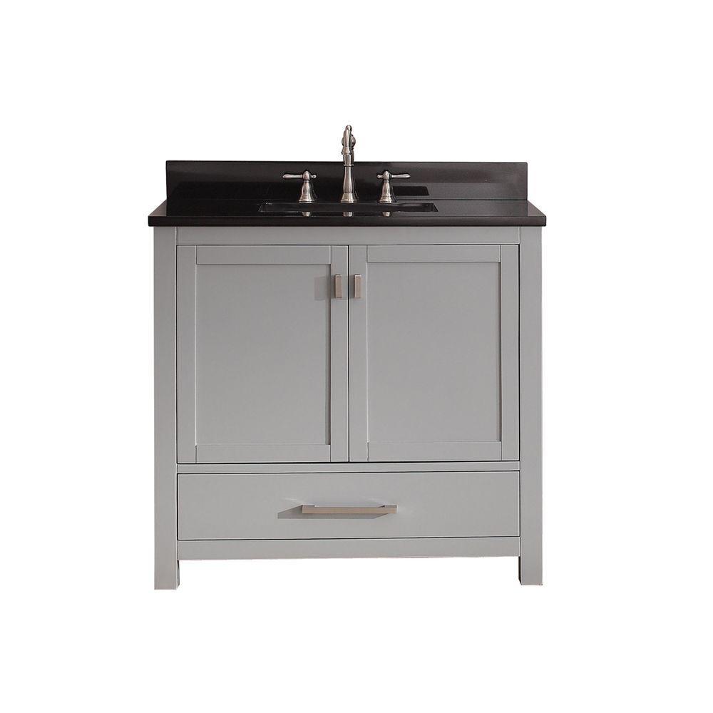 Modero 37 in. W x 22 in. D x 35 in. H Vanity in Chilled Gray with Granite Vanity Top in Black and White Basin