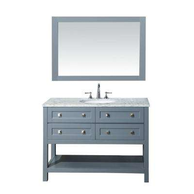 Marla 48 in. W x 22 in. D Vanity in Grey with Marble Vanity Top in Carrara White with White Basin and Mirror
