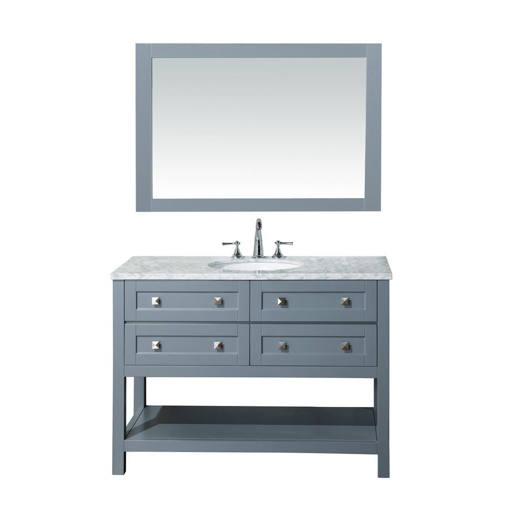 Vanity Grey Marble Vanity Top White Basin Mirror