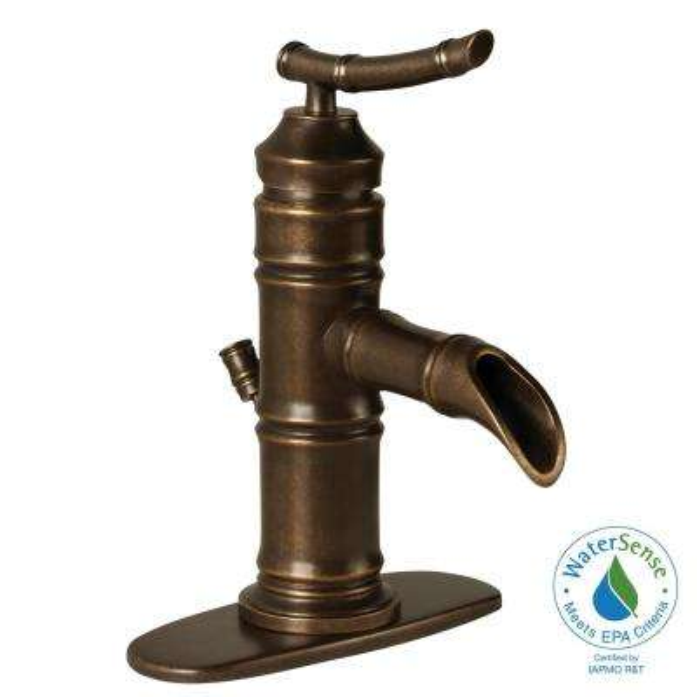 Bamboo Single Hole Single-Handle Low-Arc Bathroom Faucet in Bronze