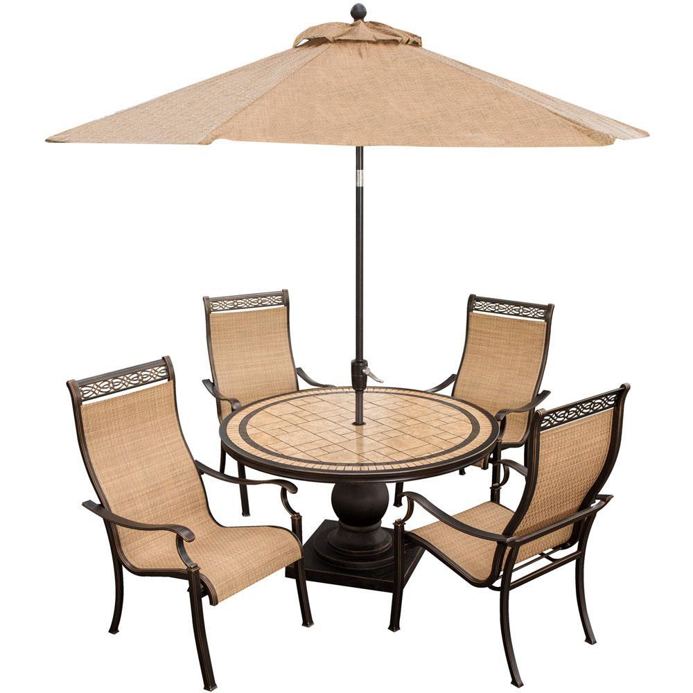 hanover monaco 5 piece outdoor aluminum round patio dining set and umbrella monaco5pc su the. Black Bedroom Furniture Sets. Home Design Ideas