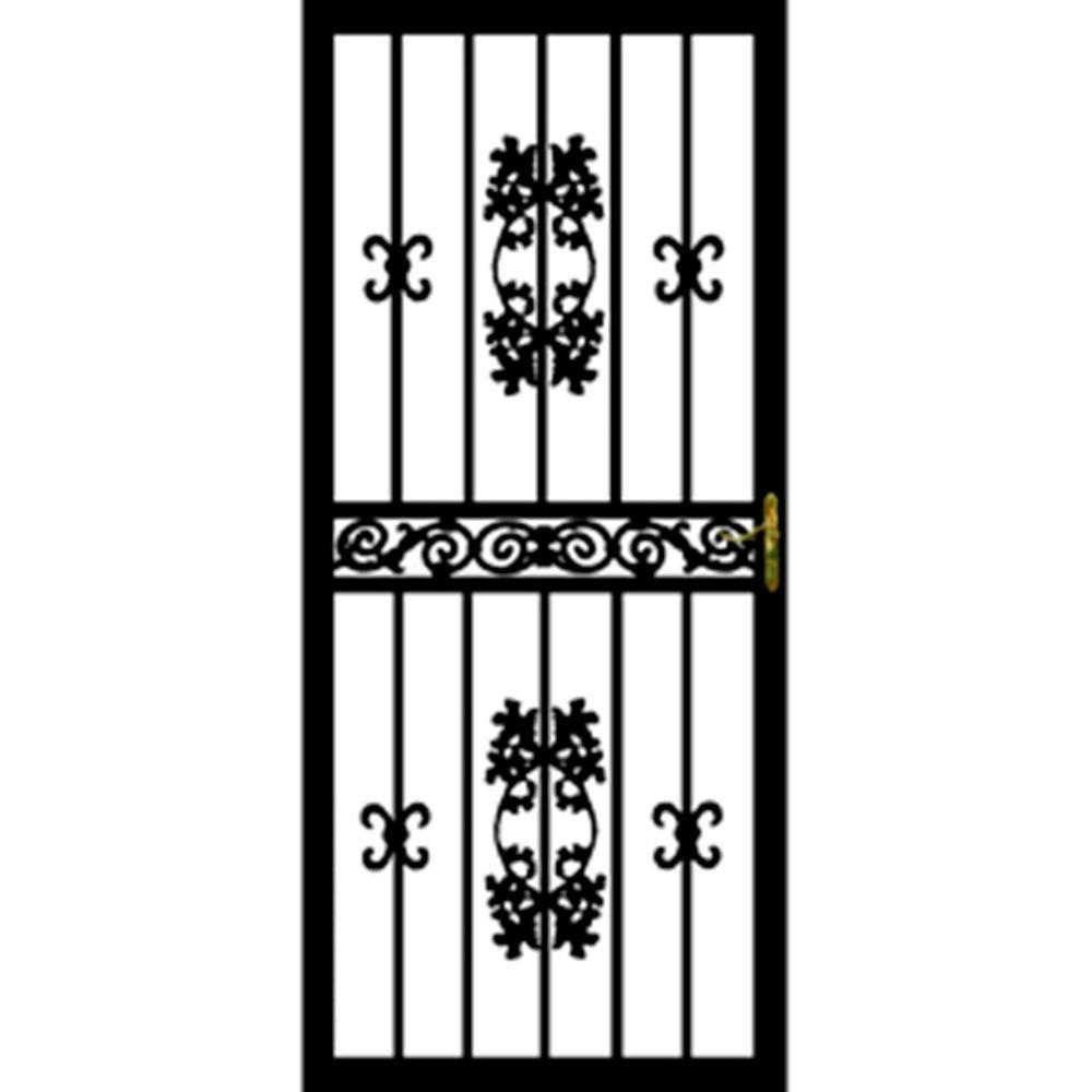 36 in. x 80 in. 100 Series Black Maple Hinge Left Security Door with Self-Storing Glass Feature