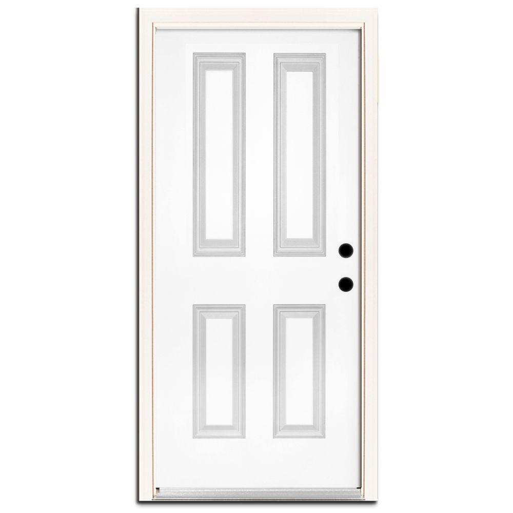 Steves & Sons Premium 4-Panel Primed White Steel Prehung Front Door with Brickmold-DISCONTINUED