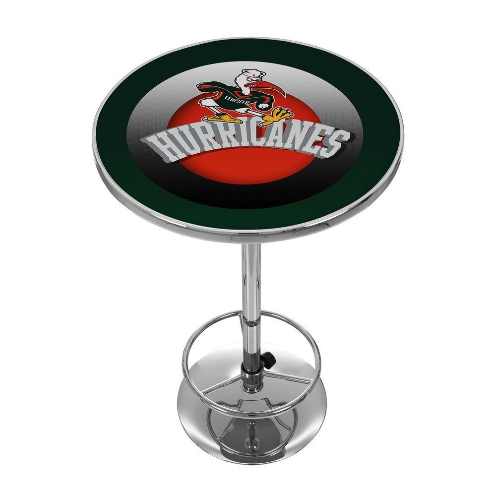 University of Miami Honeycomb Chrome Pub/Bar Table