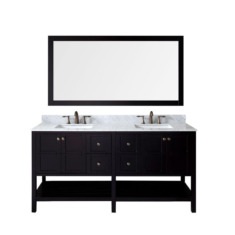 Virtu USA Winterfell 72 in. W x 22 in. D x 35.24 in. H Espresso Vanity With Marble Vanity Top With White Square Basin and Mirror