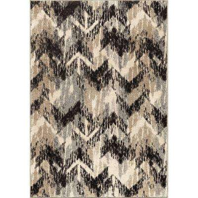 Twisted Sisters Gray 7 ft. 10 in. x 10 ft. 10 in. Plush Pile Chevron Indoor Area Rug
