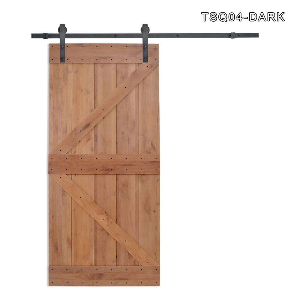 CALHOME 36 in. x 84 in. Z Bar 2-Panel Primed Natural Wood Finish Sliding Barn Door with Sliding Door Hardware Kit