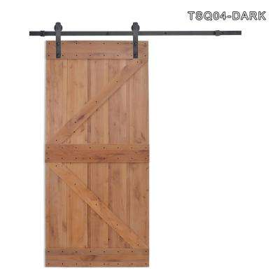 36 in. x 84 in. Z Bar 2-Panel Primed Natural Wood Finish Sliding Barn Door with Sliding Door Hardware Kit