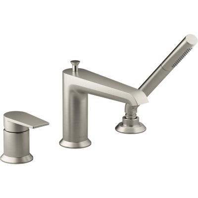 Hint Single-Handle Deck-Mount Roman Tub Faucet with Hand Shower in Vibrant Brushed Nickel