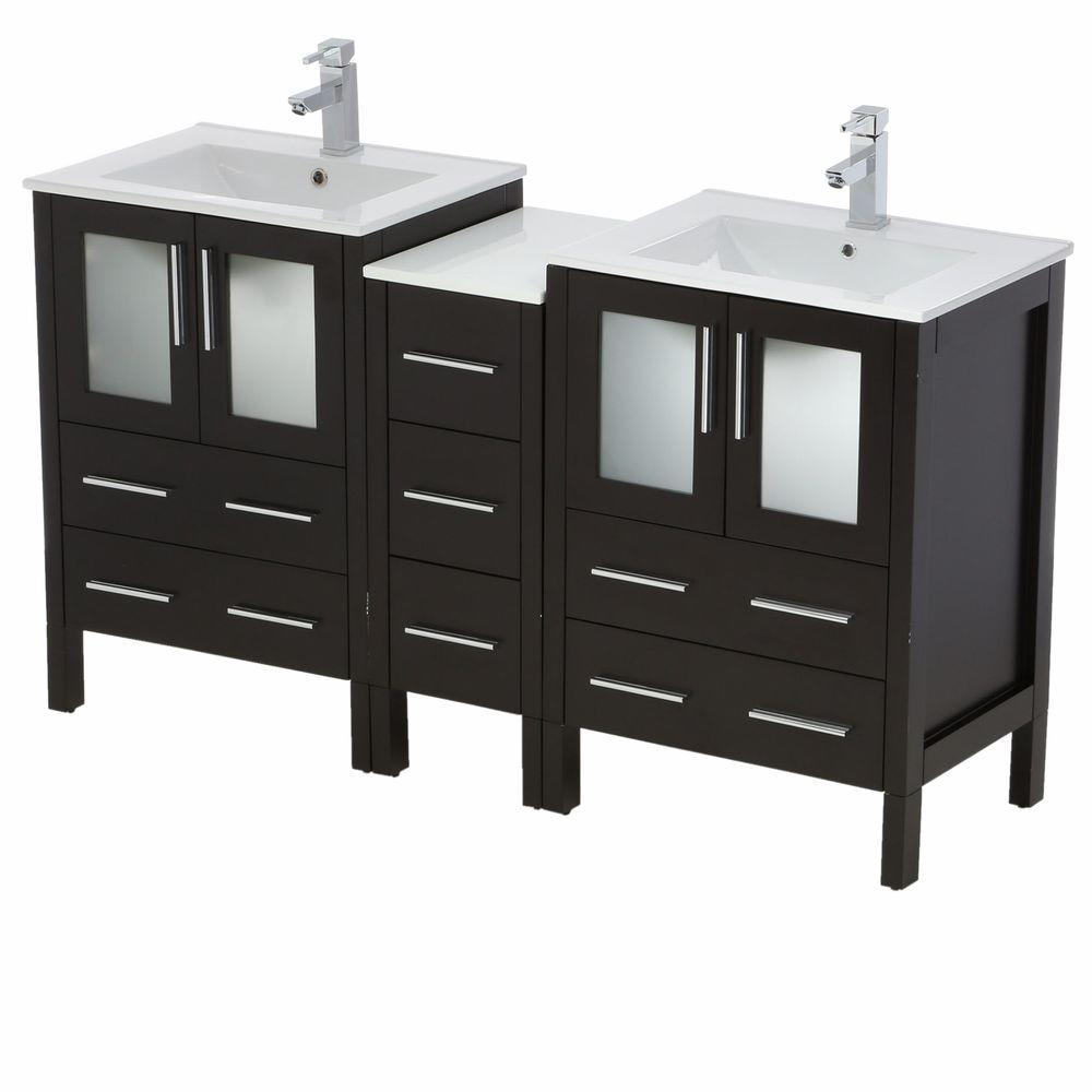 Fresca Torino 60 in. Double Vanity in Espresso with Ceramic Vanity Top in White with White Basins and Mirrors