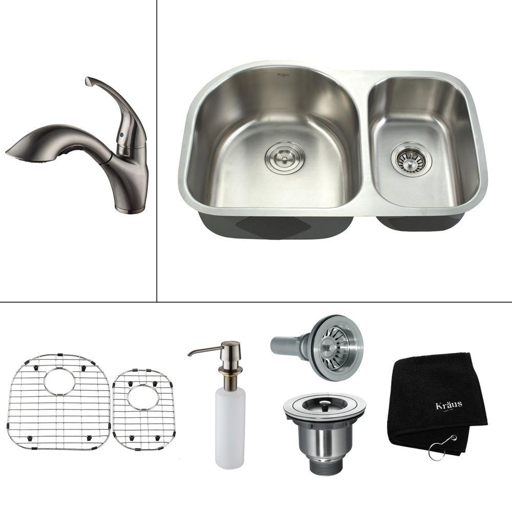 KRAUS All-in-One Undermount Stainless Steel 29 in. 0-Hole Double Bowl Kitchen Sink with Satin Nickel Accessory
