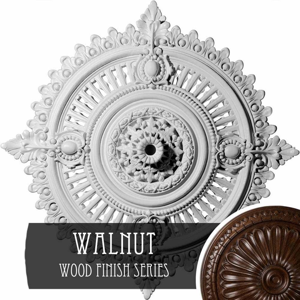 Ekena Millwork 4 In X 29 1 8 In X 29 1 8 In Polyurethane Haylynn Ceiling Medallion Walnut Cm29hywas The Home Depot