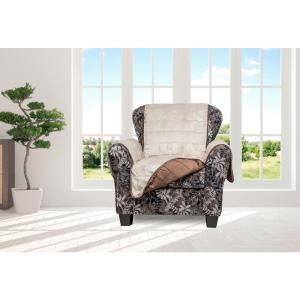 Joseph Chocolate and Taupe Flannel Reversible Waterproof Microfiber Chair Cover