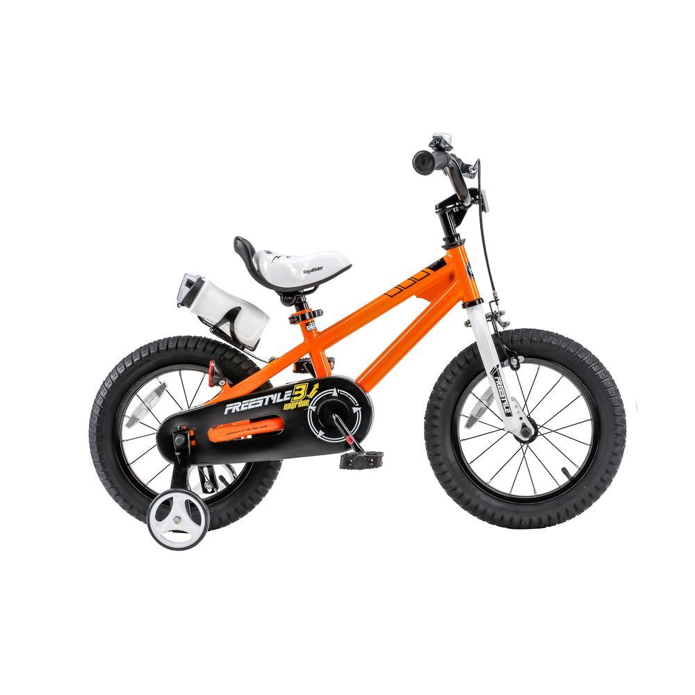 16 in. Wheels Freestyle BMX Kid's Bike, Boy's Bikes and Girl's Bikes with Training Wheels in Orange
