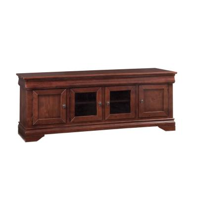 Coventry 74 in. Auburn Cherry Wood TV Stand Fits TVs Up to 80 in. with Storage Doors