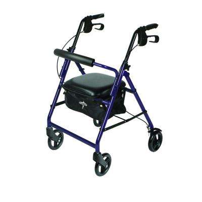 Aluminum Lightweight Folding 4-Wheel Rollator in Purple
