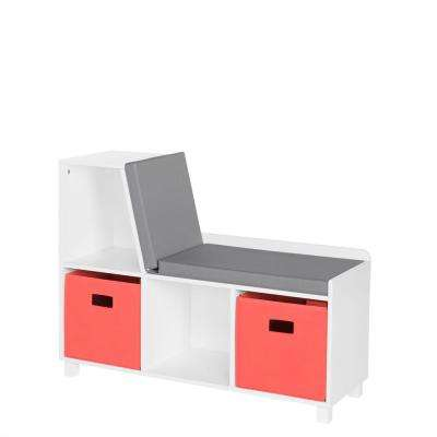 Kids White Storage Bench with Cubbies with Coral Bins (2-Piece)