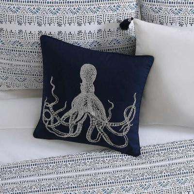 Reef Square Pillow in White and Blue