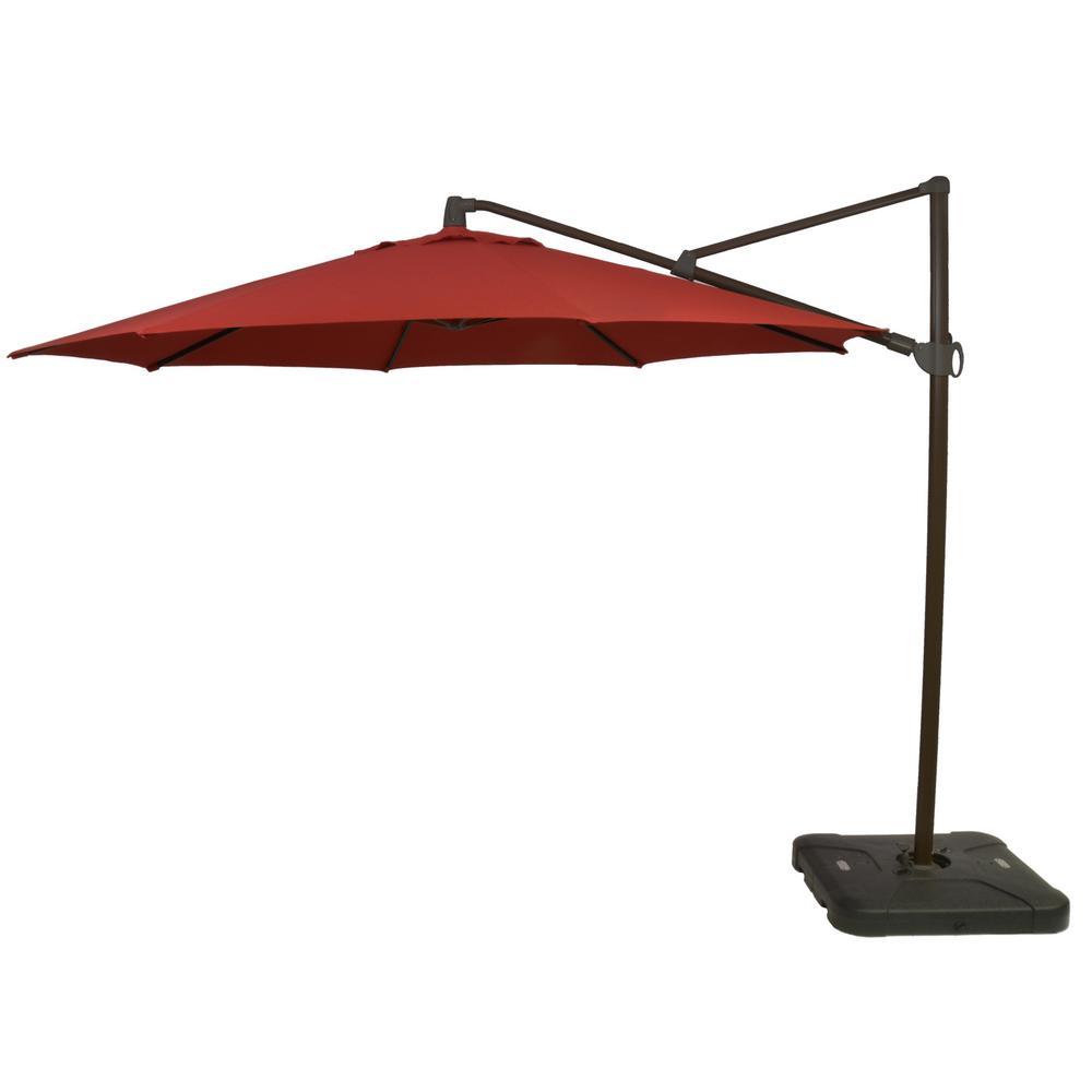 11 ft. Aluminum Cantilever Tilt Patio Umbrella in CushionGuard Chili with Black Pole