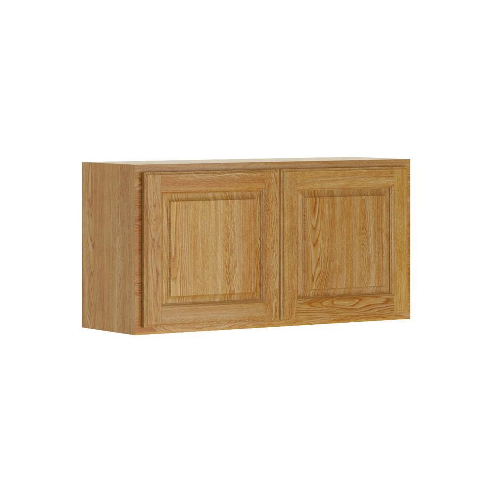Madison Base Cabinets In Medium Oak: Hampton Bay Madison Assembled 36x18x12 In. Wall Bridge