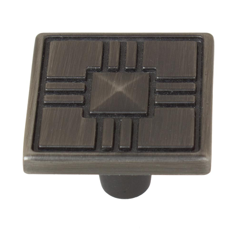 1-1/4 in. Satin Pewter Craftsman Collection Square Cabinet Knobs (10-Pack)