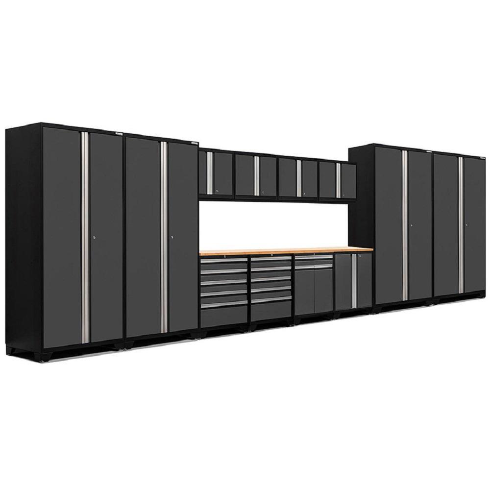 Pro 3.0 83.25 in. H x 256 in. W x 24 in. D 18-Gauge Welded Steel Bamboo Worktop Cabinet Set in Gray (14-Piece)