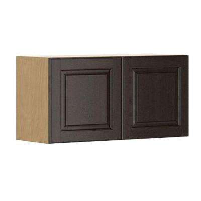 Ready to Assemble 30x15x12.5 in. Naples Wall Bridge Cabinet in Maple Melamine and Door in Dark Brown