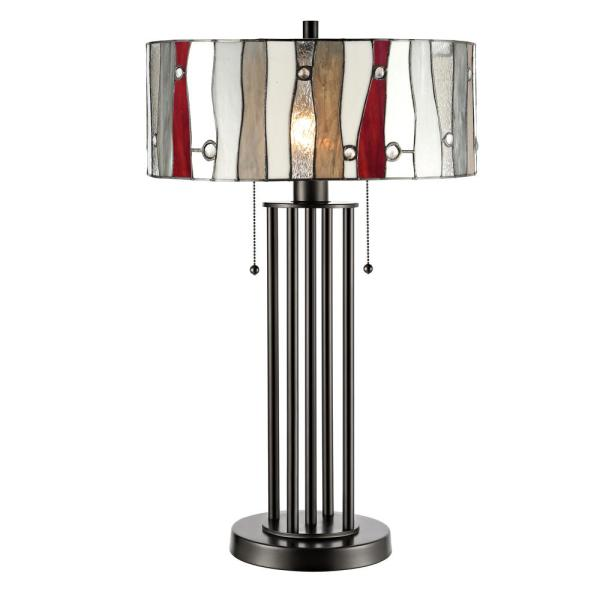 Aston 27 in. Bronze Table Lamp with Hand Rolled Art Glass Shade