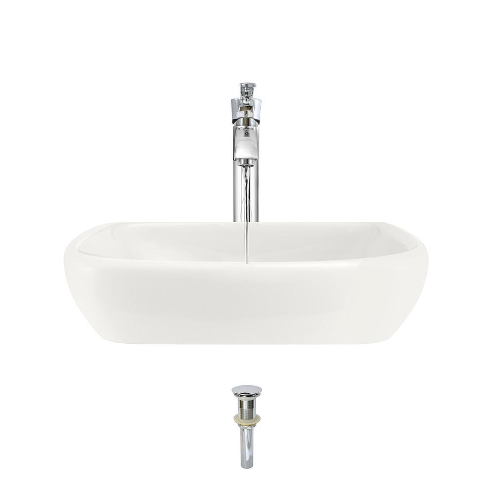 MR Direct Porcelain Vessel Sink in Bisque with 726 Faucet and Pop-Up Drain in Chrome