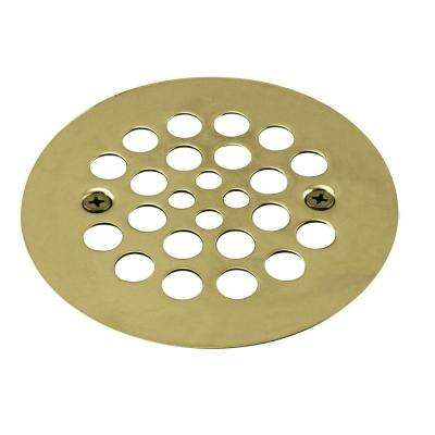 4-1/4 in. Brass Shower Strainer Grid with Screws in Polished Brass