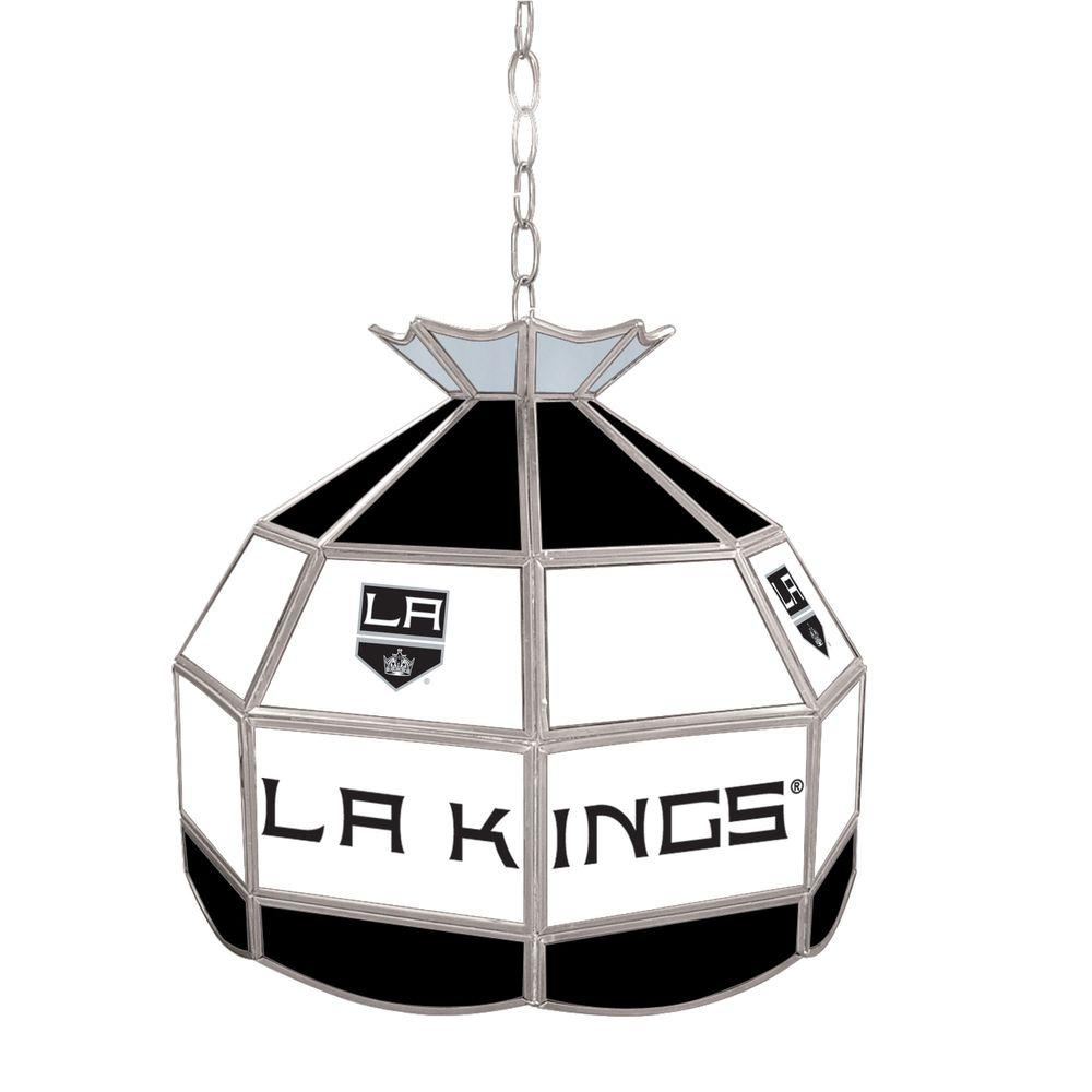 Trademark NHL Los Angeles Kings 16 in. Gold Hanging Tiffany Style Billiard Lamp