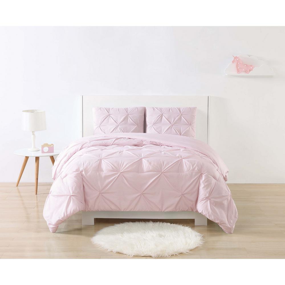 Anytime Stripe Pinch Pleat Pink Twin XL Duvet Set