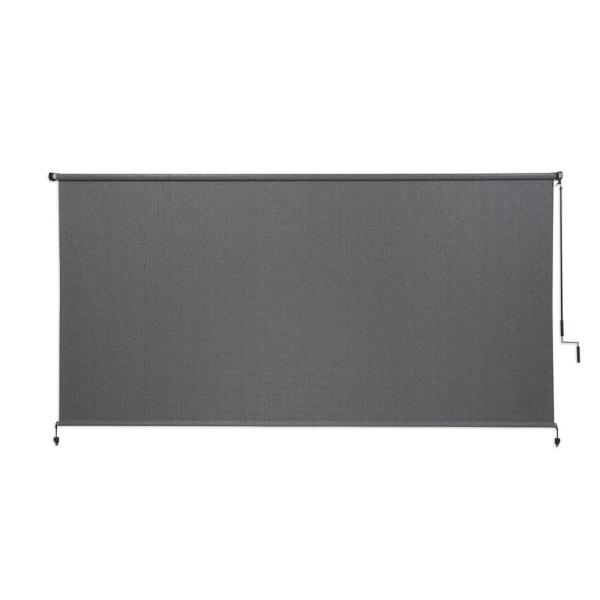 Pewter Cordless Light Filtering Fade Resistant Fabric Exterior Roller Shade 120 in. W x 72 in. L